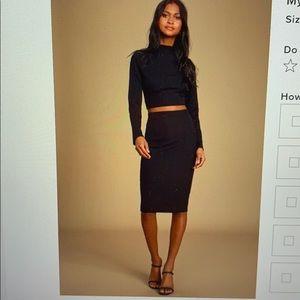 Lulus 2 piece blk dress - size M